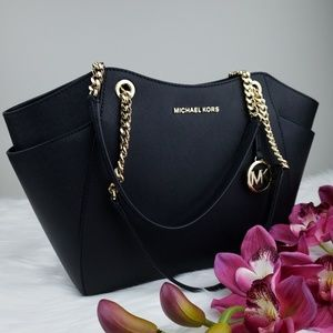 🌺NWT Michael Kors LG Chain shoulder Bag Black MK